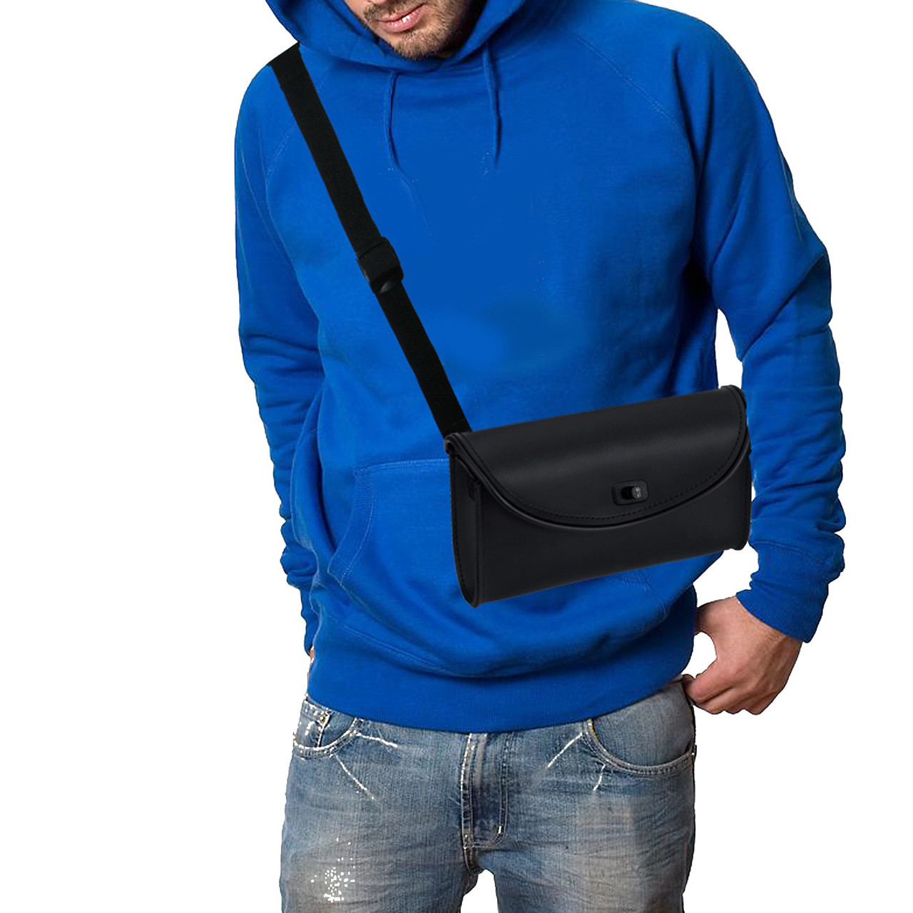 Large Detachable Motorcycle Windshield Bag on shoulder View