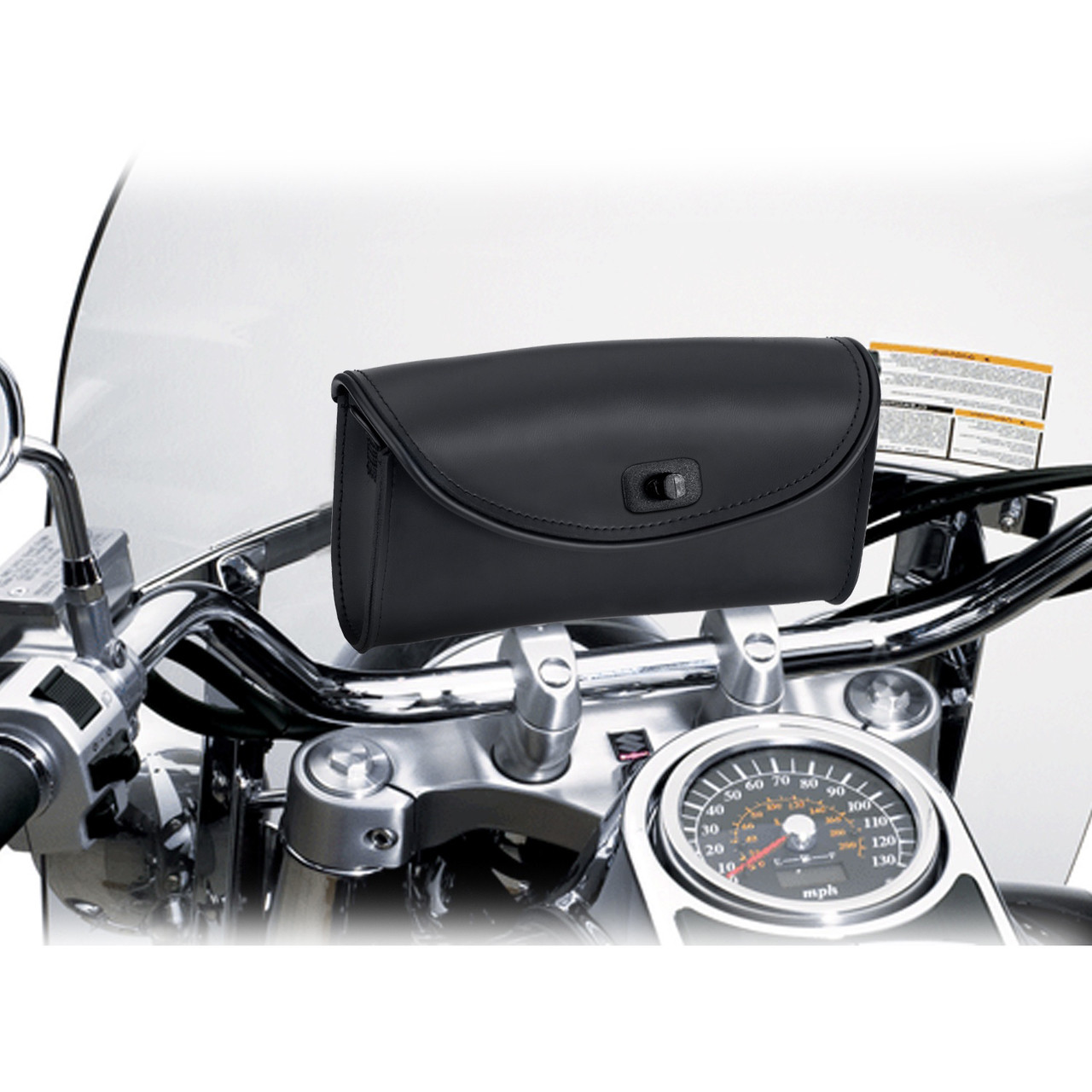 Large Detachable Motorcycle Windshield Bag In Front of Bike View