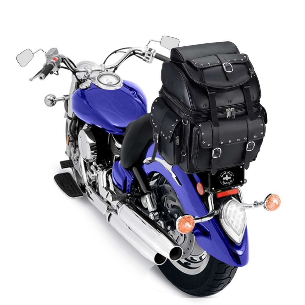 Leather Studded Motorcycle Backrest Seat Luggage  Back on Bike View
