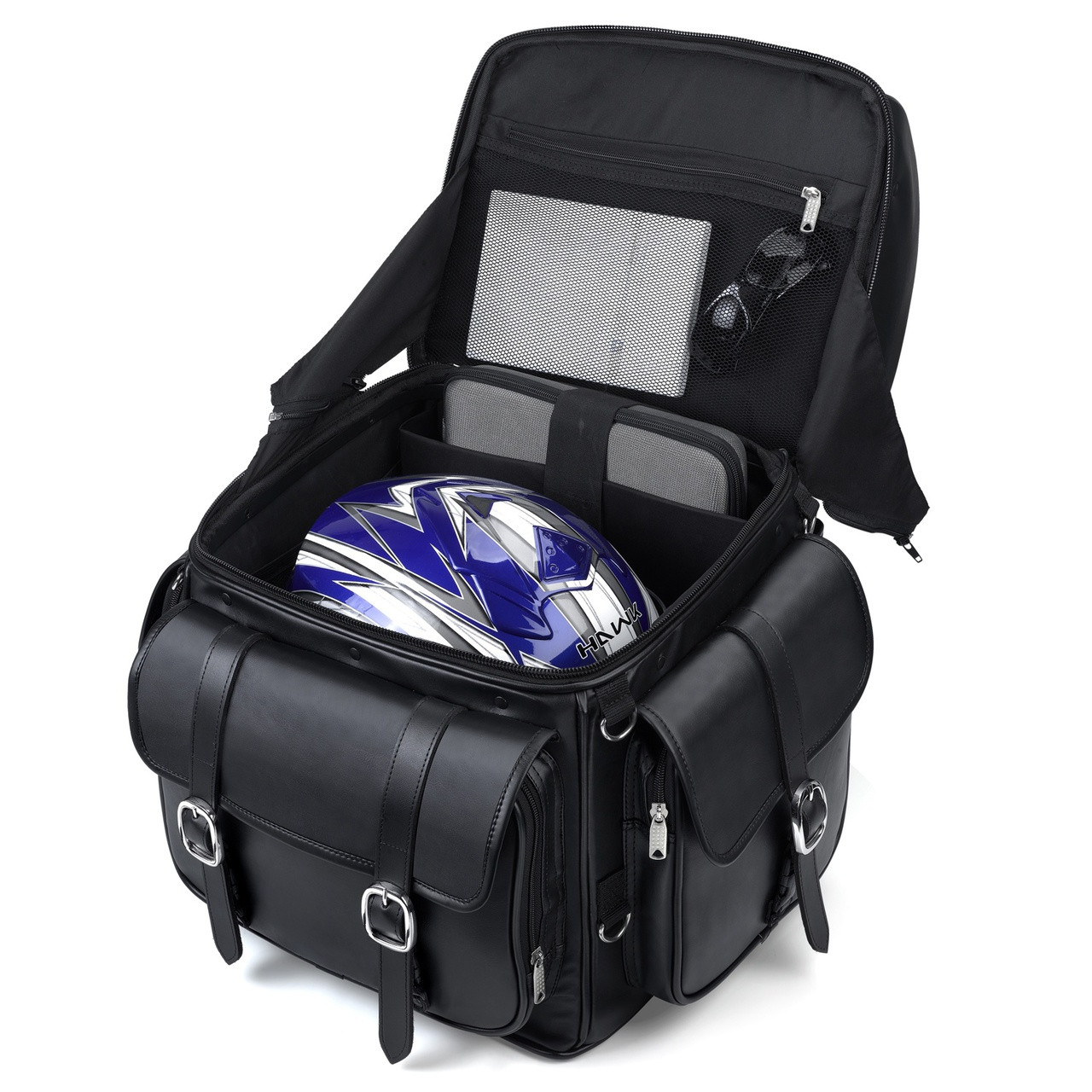 Leather Studded Motorcycle Backrest Seat Luggage Inner View with carrying Items