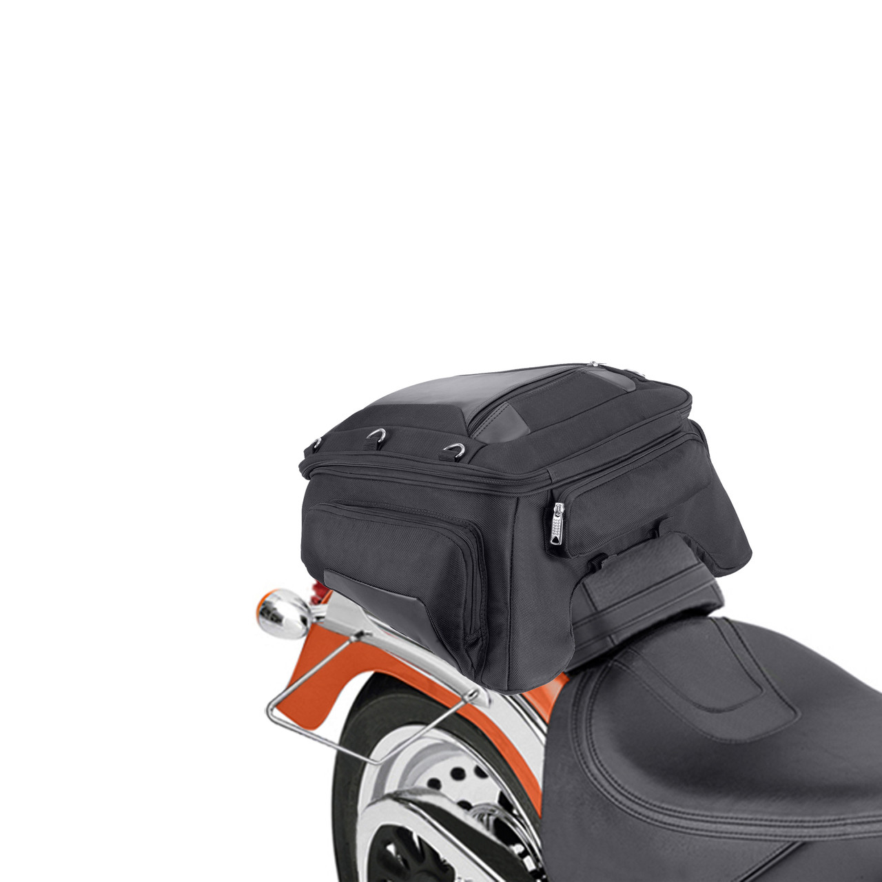 Motorcycle Tunnel Seat Luggage  Back View on Bike