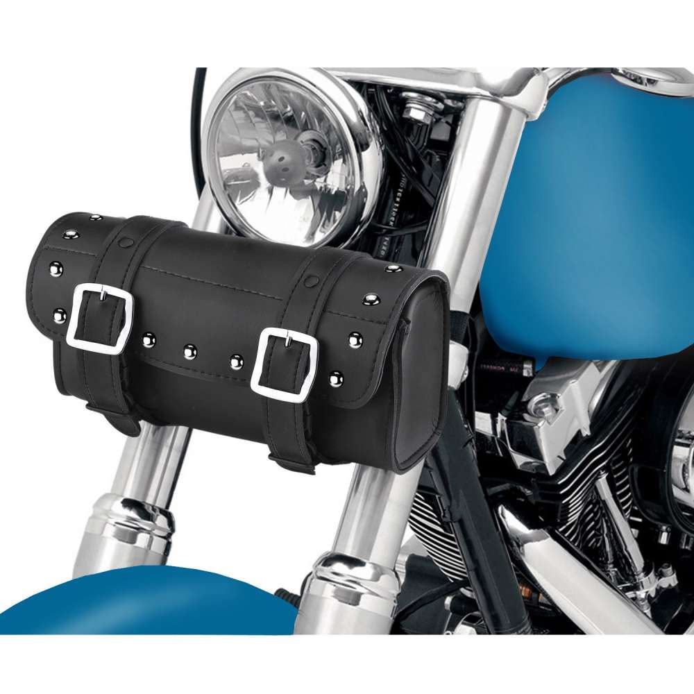 Armor Studded Motorcycle Tool Bag In front of Bike View