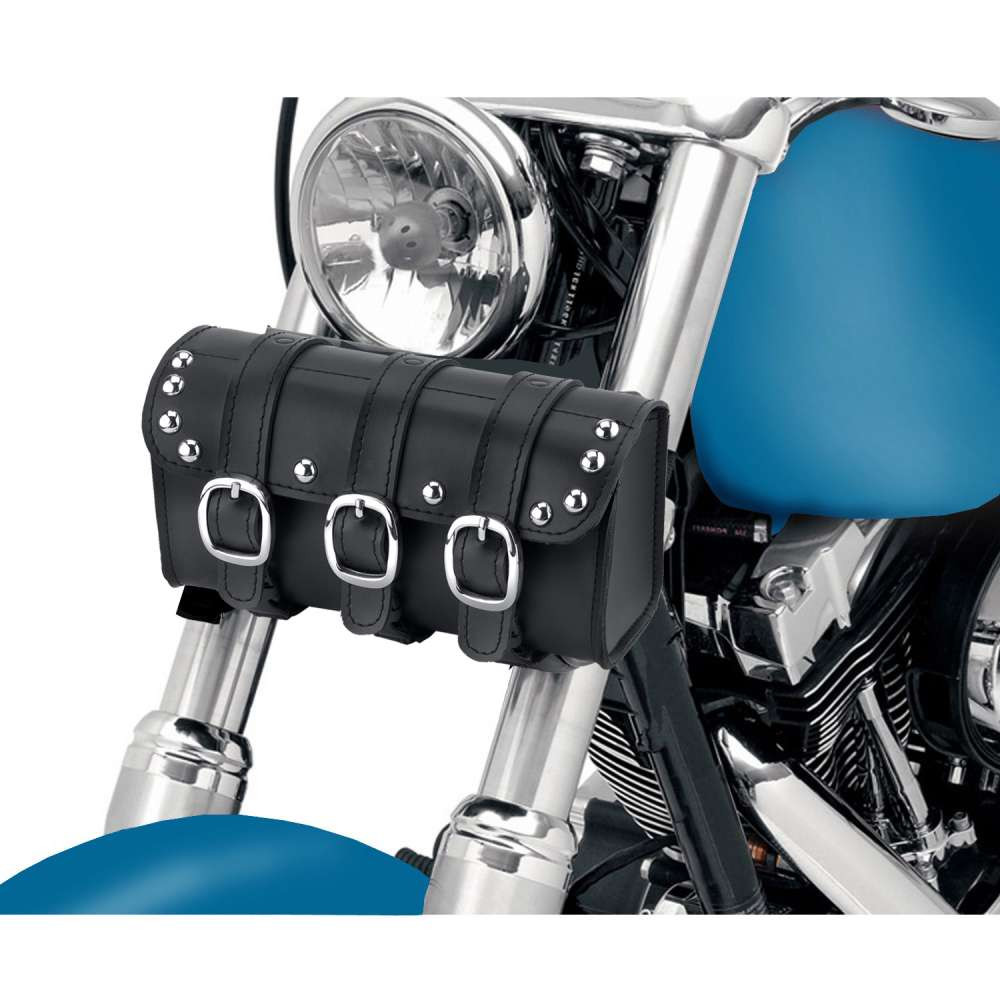 Trianion Studded Motorcycle Tool Bag In front of Bike View