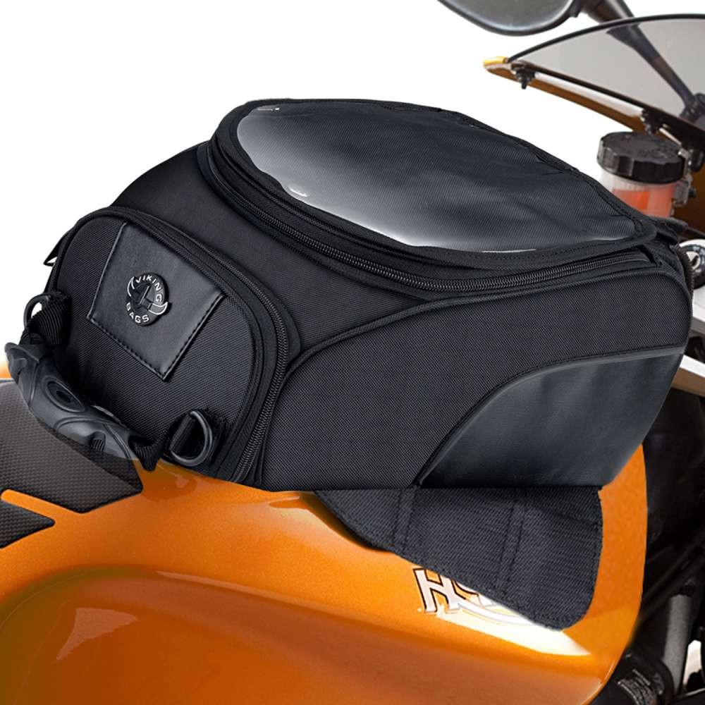 Viking 14 Large Motorcycle Tank Bag  In front of Bike View
