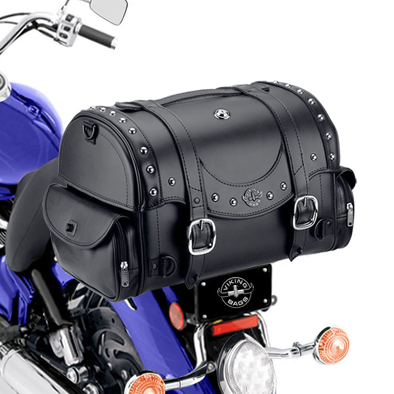 Viking Century Studded 2050 Cubic Inches Motorcycle Trunk Back on Bike View