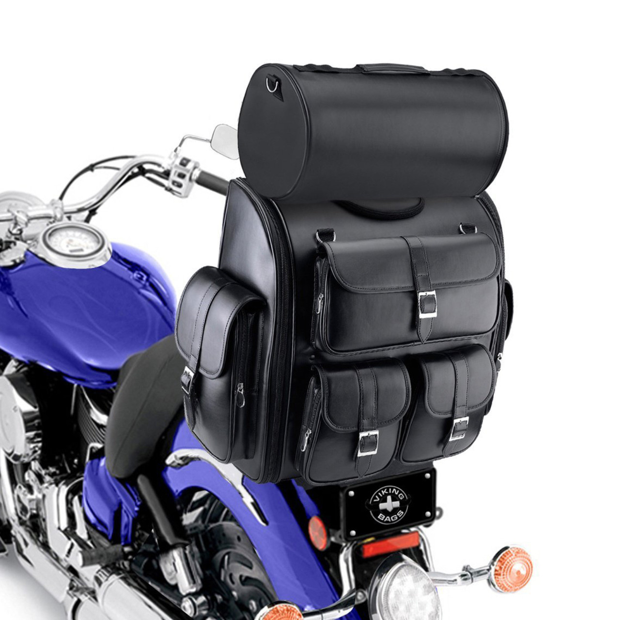 Viking Classic Motorcycle Sissy Bar Bag 3,100 cubic inches  Back on Bike View with Roller