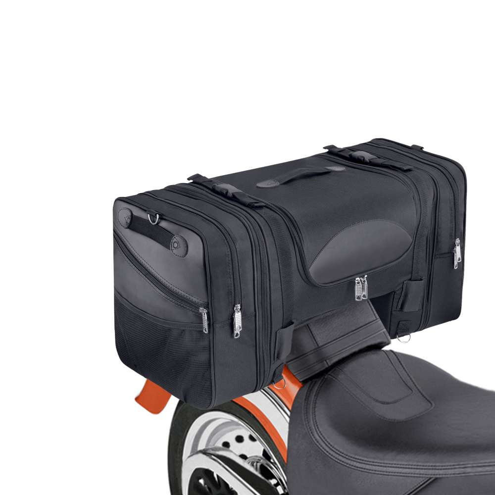 Viking Expandable Cruiser Large Motorcycle Tail and Tunnel Bag   on Bike View