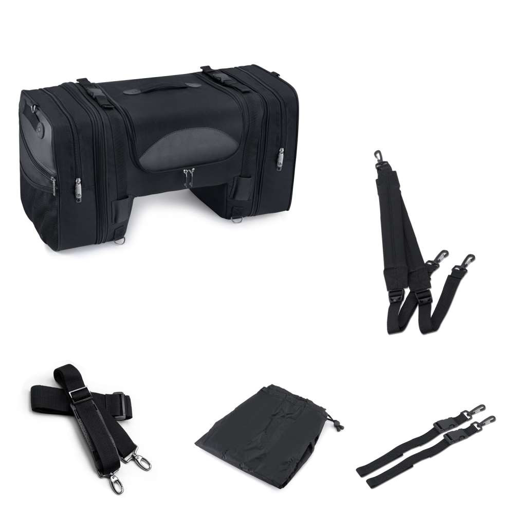 Viking Expandable Cruiser Large Motorcycle Tail and Tunnel Bag with Accessories