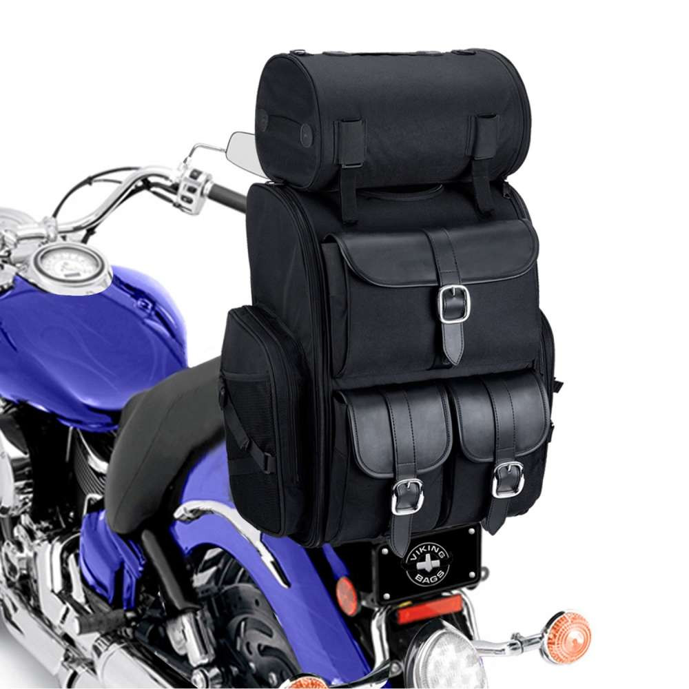 Viking Extra Large Plain Motorcycle Sissy Bar Bag 4,553 Cubic Inches on Bike View