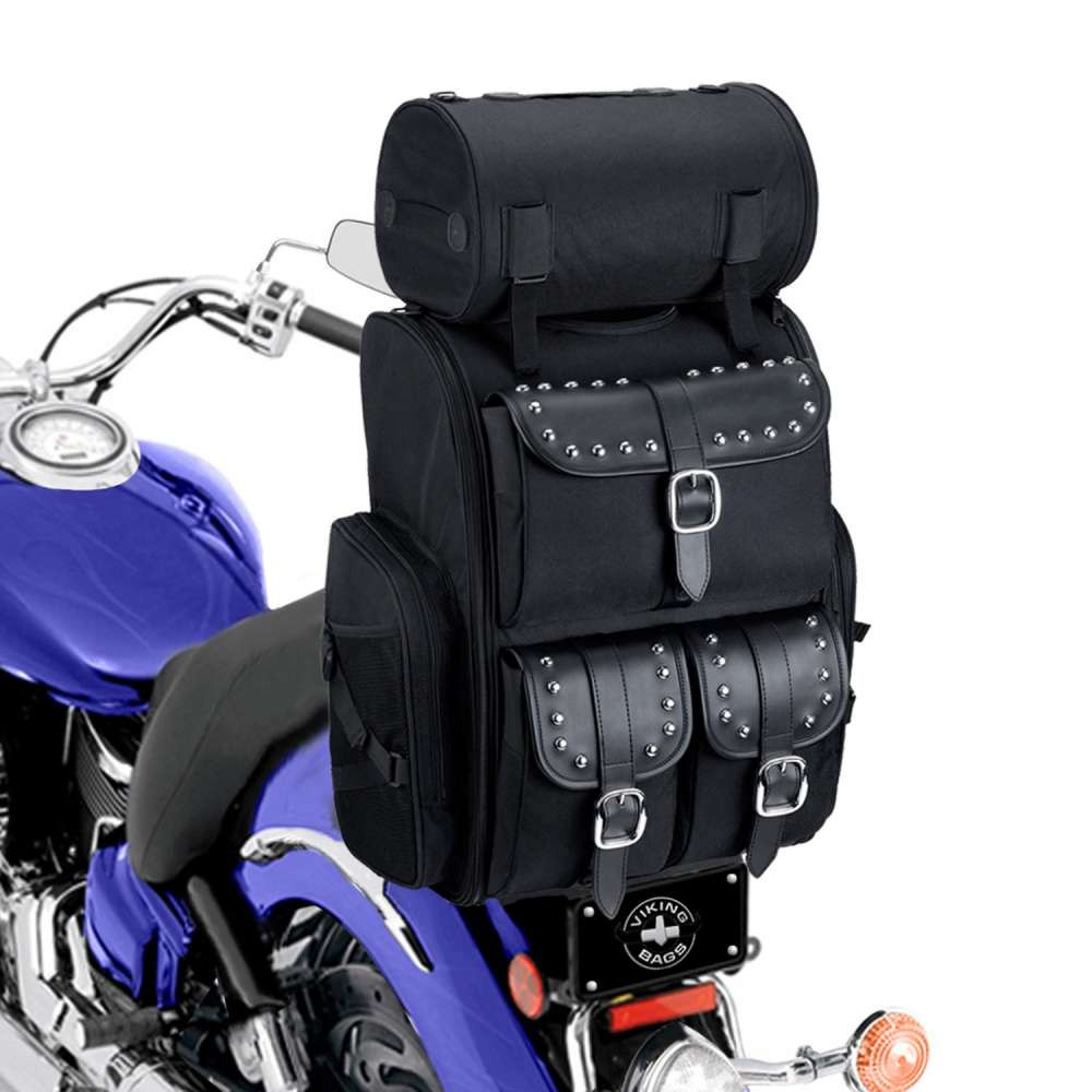 Viking Extra Large Studded Motorcycle Sissy Bar Bag 4,553 Cubic Inches on Bike View