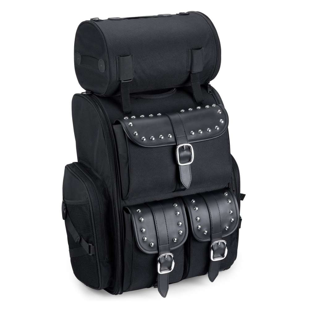 Viking Extra Large Studded Motorcycle Sissy Bar Bag 4,553 Cubic Inches  Main Image with Roller