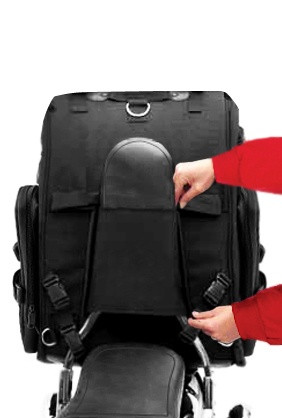 Viking Extra Large Studded Motorcycle Sissy Bar Bag 4,553 Cubic Inches  Back on Bike View