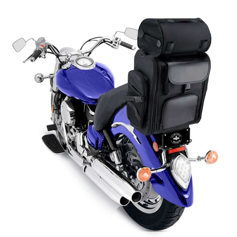 VK-2500-PL - Viking Large Motorcycle Sissy Bar Bag  3305.25 Cubic Inches Back View on Bike with Roller