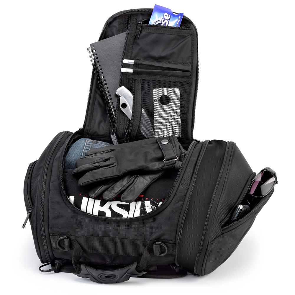 Viking Sport Motorcycle Tail Bag Inner View with carrying Items