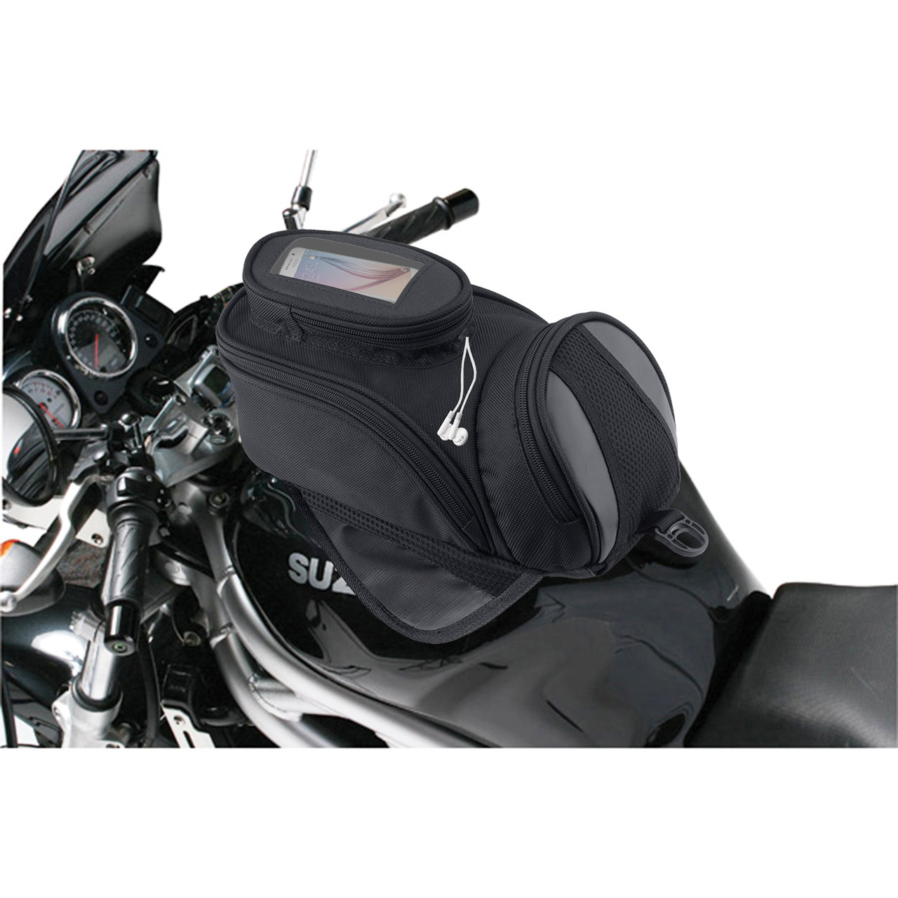 Viking Survival Series Motorcycle Tank Bag In front of Bike View