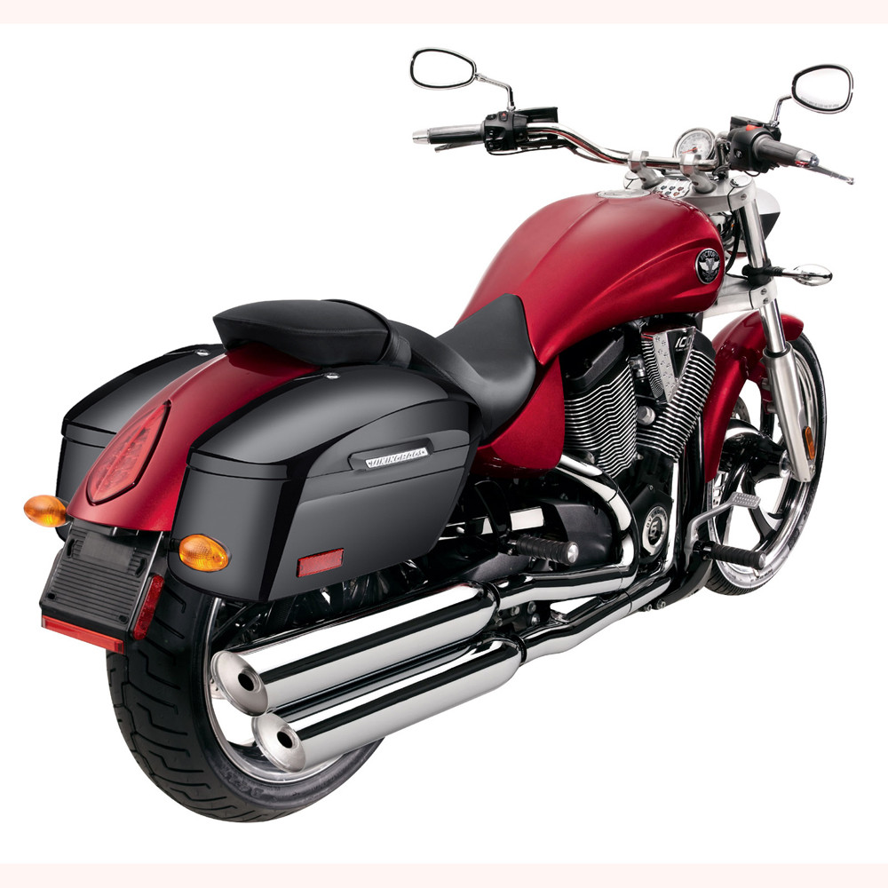 Lamellar Extra Large Shock Cutout Hard Saddlebag Back on Bike View