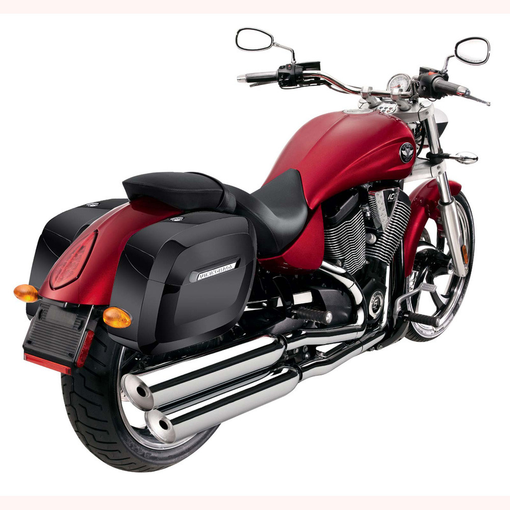 Viking Lamellar Large Painted Shock Cutout Hard Saddlebags Back on Bike View