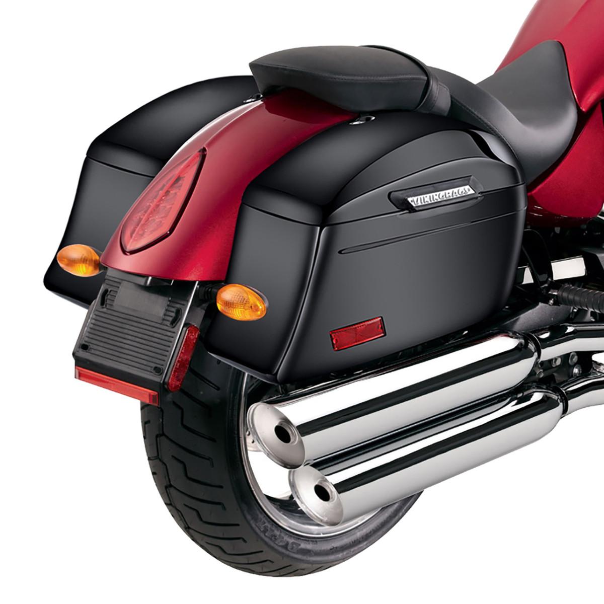 Viking Lamellar Slanted Painted Motorcycle Hard Saddlebags Back on Bike View