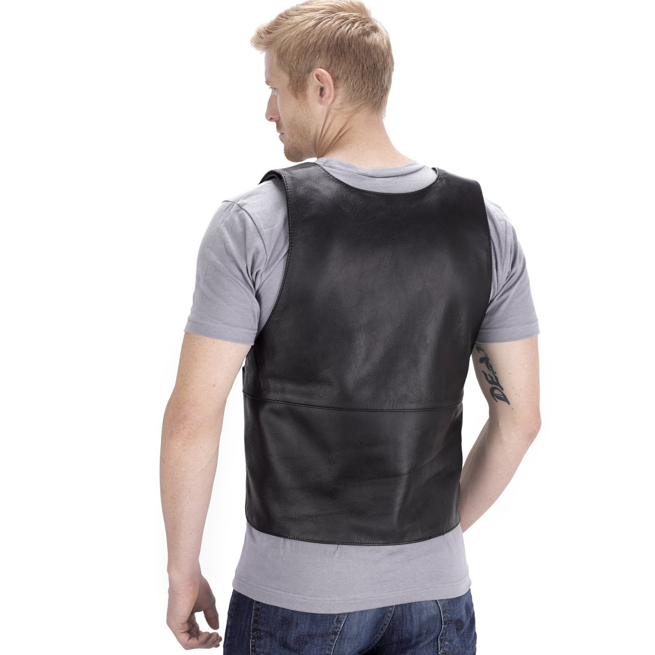 VikingCycle Bullet Proof Style Motorcycle Vest for Men Back Side