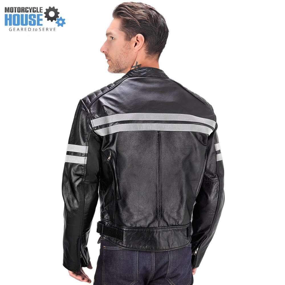 VikingCycle Bloodaxe Leather Motorcycle Jacket for Men Back