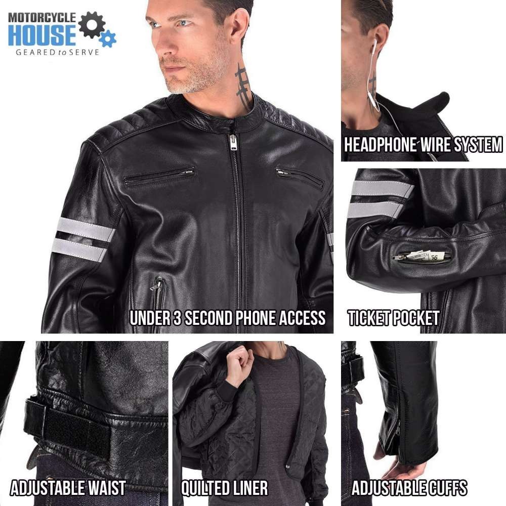 VikingCycle Bloodaxe Leather Motorcycle Jacket for Men All In One View