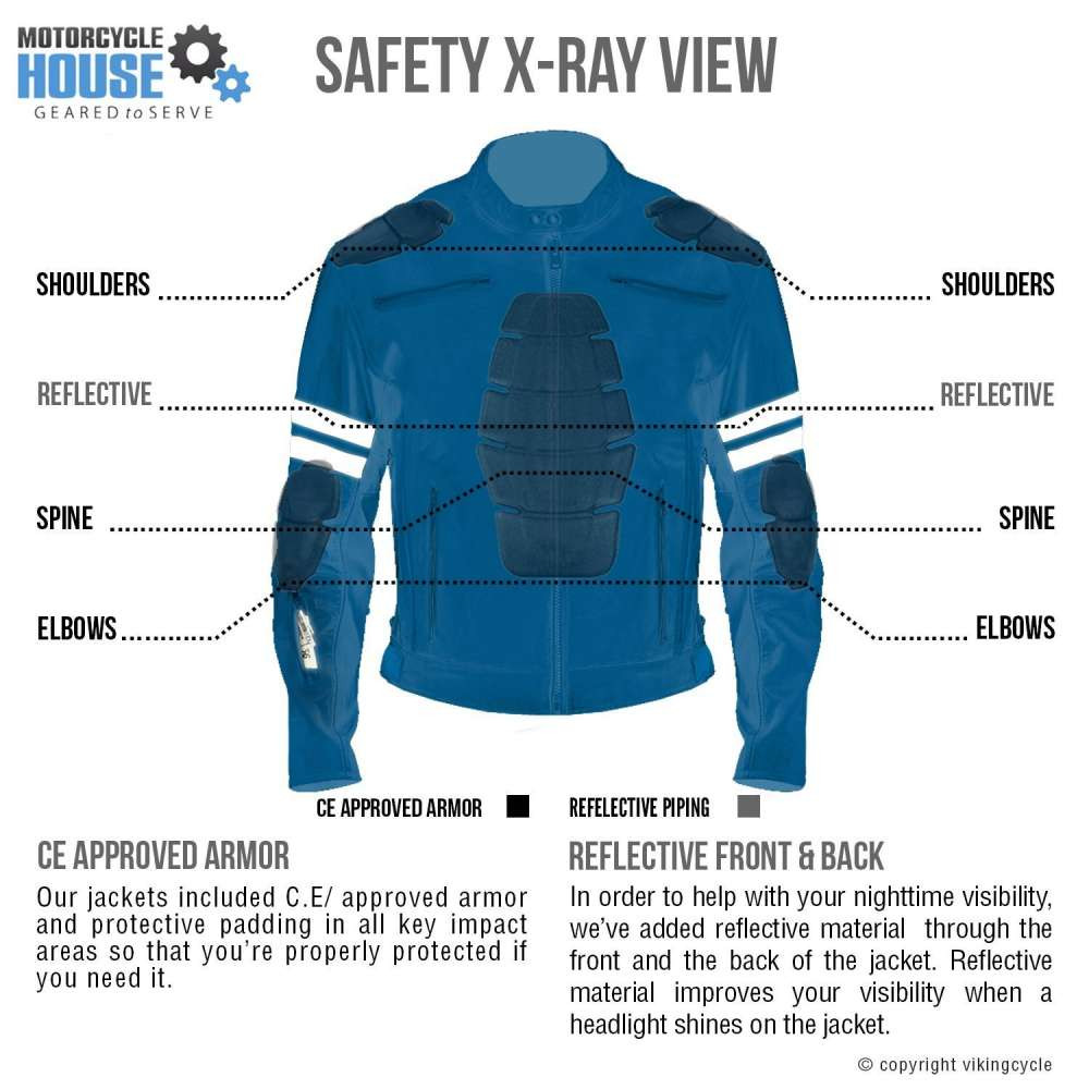 VikingCycle Bloodaxe Leather Motorcycle Jacket for Men X-ray Image Back