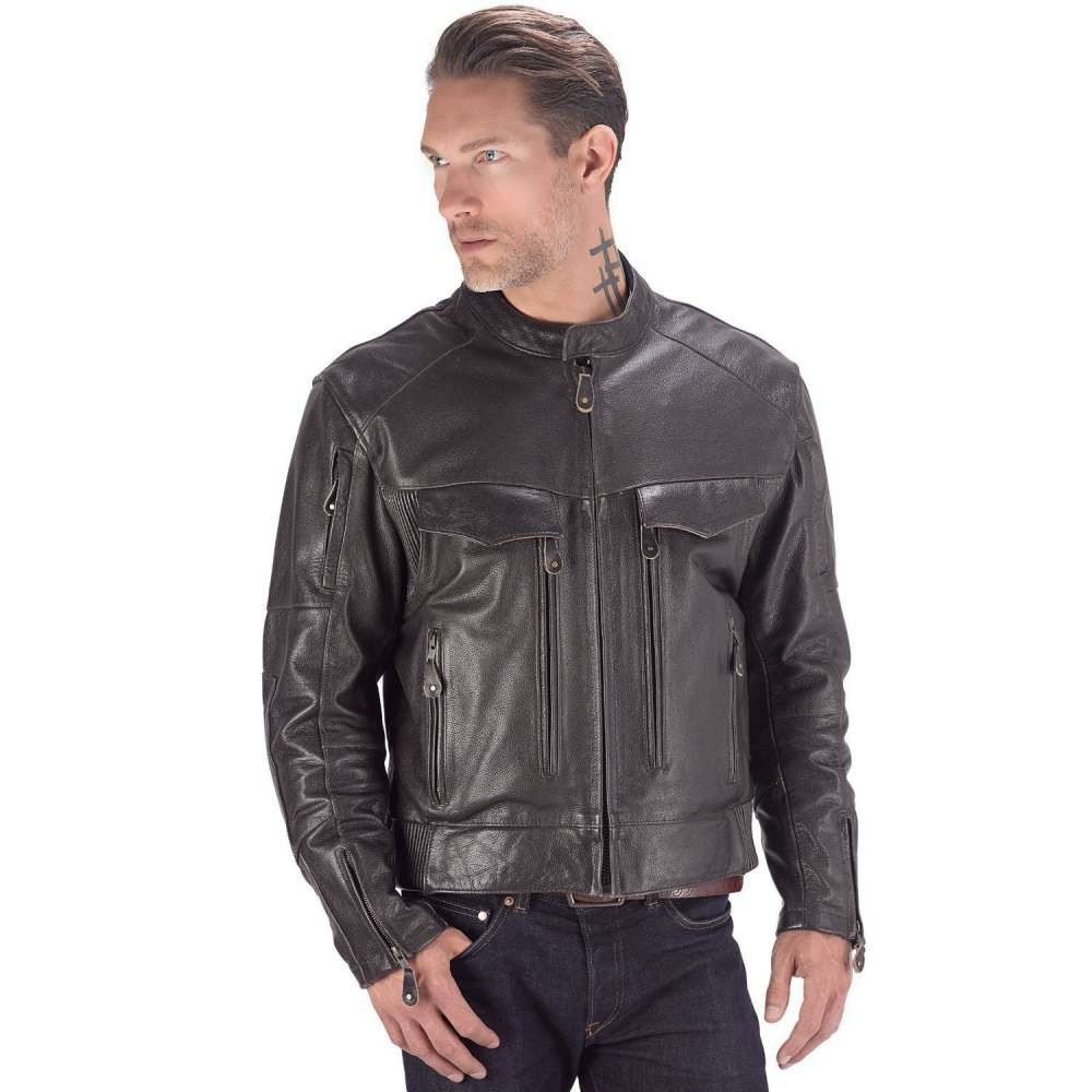 VikingCycle Skeid Brown Leather Jacket for Men Front Side