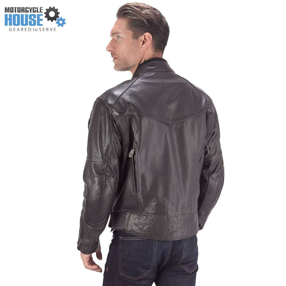 VikingCycle Skeid Brown Leather Jacket for Men Back Side
