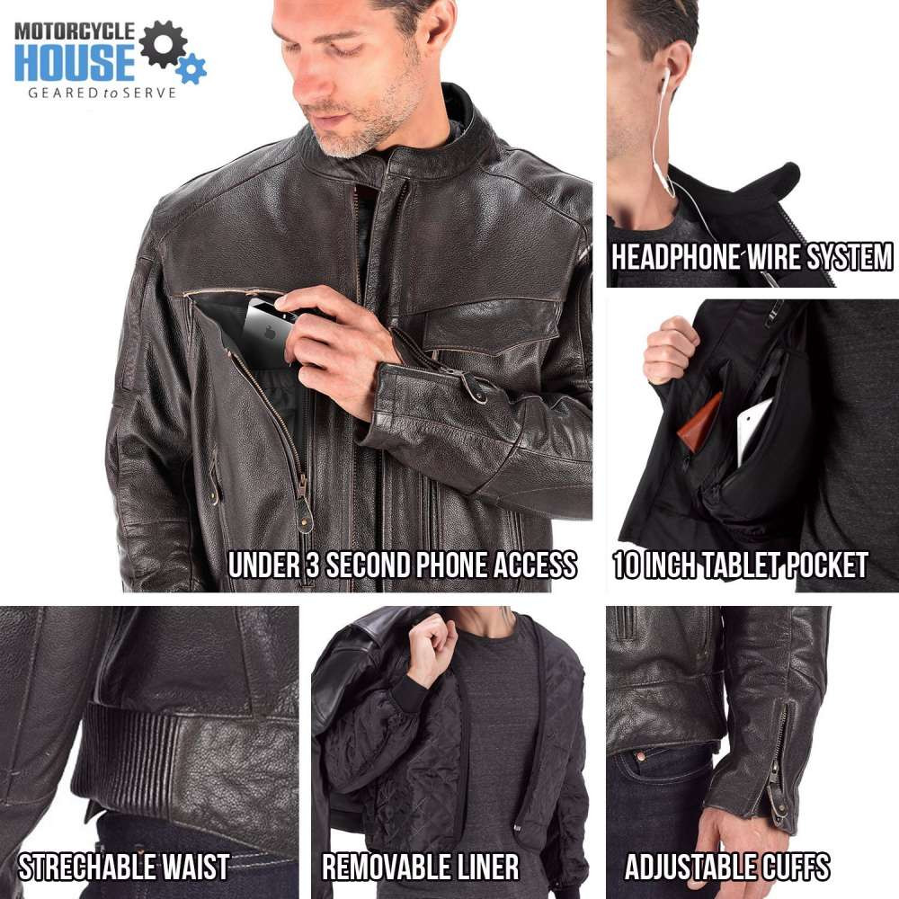 VikingCycle Skeid Brown Leather Jacket for Men All In One