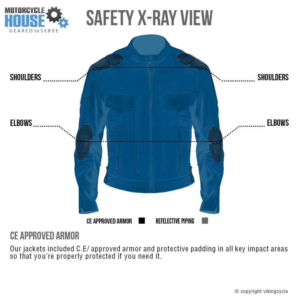 VikingCycle Skeid Brown Leather Jacket for Men X-Ray Image Back