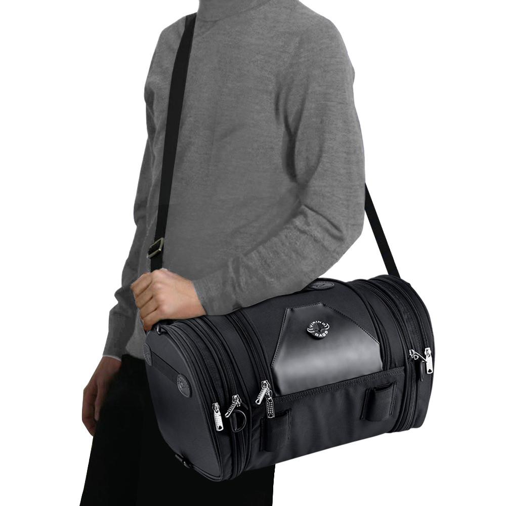 Viking Bags Axwell Motorcycle Sissy Bar Bag On Shoulder View