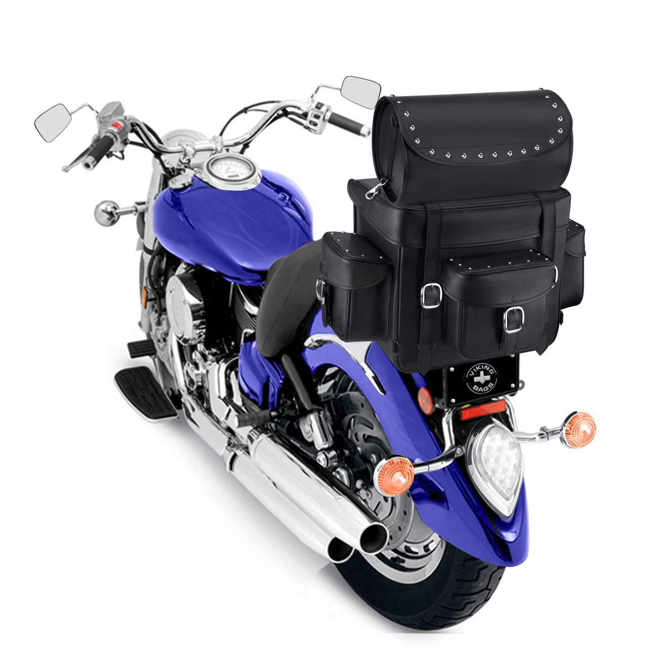 Revival Series Large Studded Sissy Bar Bag On Bike View