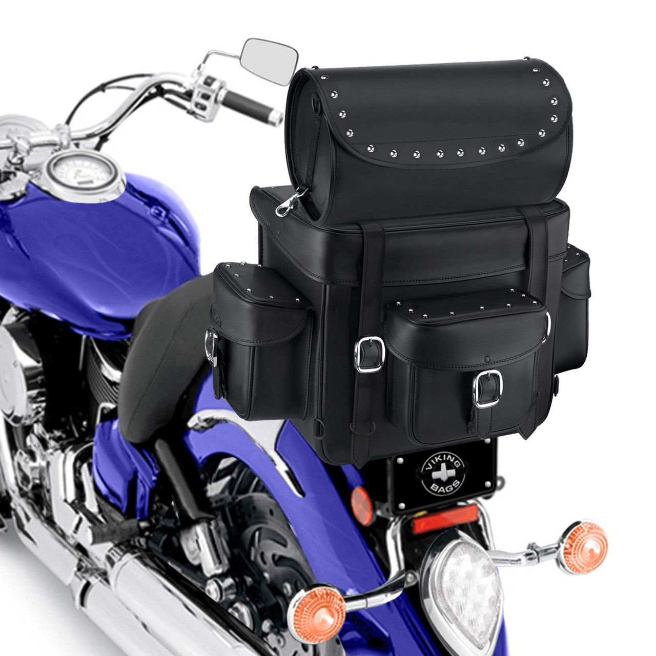 Revival Series Large Studded Sissy Bar Bag On Bike Zoom View