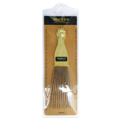 Black Ice Metal Pick Comb/Gold Handle [LONG Trapezoid]