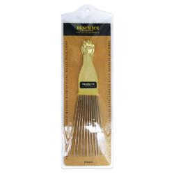 Black Ice Metal Pick Comb/Gold Handle