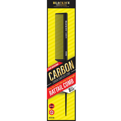 "Black Ice Carbon Rat Tail Comb 8.5"""