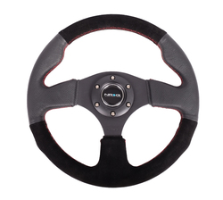 NRG 320 MM SUEDE/ LEATHER STEERING WHEEL RED STITCHING