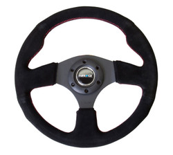 NRG 320 MM RACING SUEDE STEERING WHEEL WITH BLACK STITCH