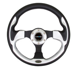 NRG 320MM SPORT STEERING WHEEL WITH SILVER TRIM