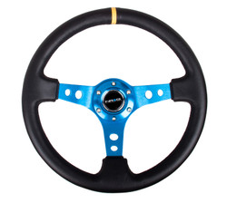 "NRG 350MM SPORT 3"" DISH STEERING WHEEL BLUE CENTER WITH YELLOW CENTER MARK"