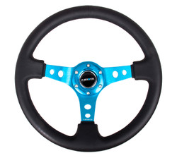 "NRG 350MM SPORT 3"" DISH STEERING WHEEL WITH NEW BLUE CENTER  SPOKES"
