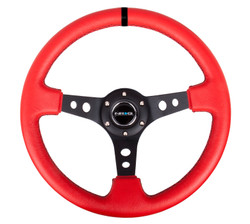 "NRG 350MM SPORT 3"" DISH STEERING WHEEL RED LEATHER WITH BLACK CENTER SPOKES AND BLACK CENTERING MARK"