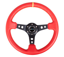 "NRG 350MM SPORT 3"" DISH STEERING WHEEL RED LEATHER WITH BLACK CENTER SPOKE AND YELLOW CENTERING MARK"