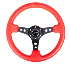 "NRG 350MM SPORT 3"" DISH STEERING WHEEL RED LEATHER WITH BLACK CENTER SPOKE AND YELLOW STITCHING"