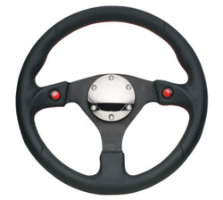NRG 320MM SPORT LEATHER STEERING WHEEL WITH DUAL RED BUTTONS