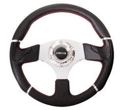 NRG 320MM SPORT LEATHER STEERING WHEEL WITH SILVER TRIM AND RED STITCHING