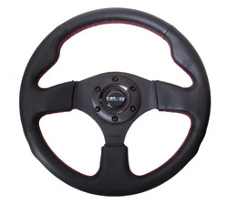 NRG 320MM SPORT LEATHER STEERING WHEEL WITH RED STITCHING