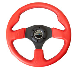 NRG 320MM SPORT RED LEATHER STEERING WHEEL WITH BLACK CENTER SPOKES AND BLACK STITCHING