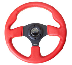 NRG 320MM SPORT RED LEATHER STEERING WHEEL WITH BLACK CENTER SPOKES AND YELLOW STITCHING