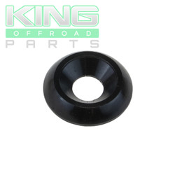 "BLACK ANODIZED ALUMINUM BODY WASHERS 3/4"" OD WITH 3/8"" ID, WITH BEVELED ID"